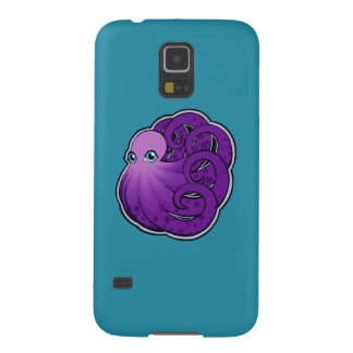 カールされた紫色はタコインクスケッチのデザインに斑点を付けました GALAXY S5 ケース