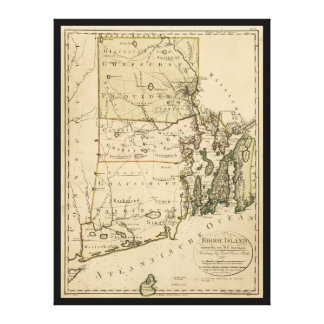 カールエルンストBohn (1797年)著ロードアイランドの地図 キャンバスプリント