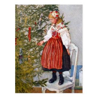 カールラーションのクリスマスツリーの郵便はがきの郵便はがき ポストカード