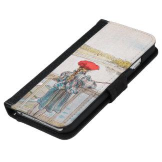 カールラーションのヴィンテージの芸術著Lisbetの魚釣り iPhone 6/6s ウォレットケース