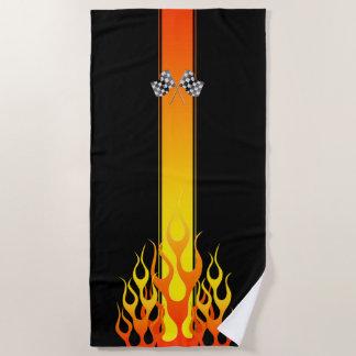 カーレースの炎はaのテーマの装飾を改造しました ビーチタオル