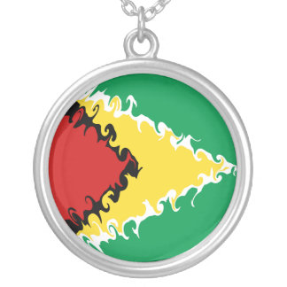 ガイアナのすごい旗 シルバープレートネックレス