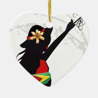 ガイアナの女の子のハートのオーナメント セラミックオーナメント
