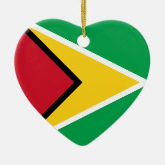 ガイアナの旗のハート セラミックオーナメント