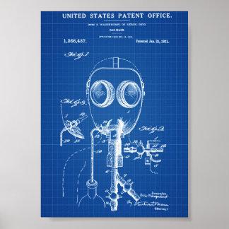 ガスマスクのパテント-青写真 ポスター