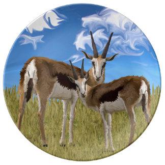 ガゼルを牧草を食べること 磁器プレート