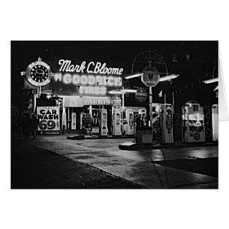 ガソリン・ステーションのハリウッドカリフォルニアのヴィンテージ1942年 カード