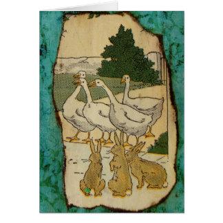 ガチョウおよびウサギ グリーティングカード
