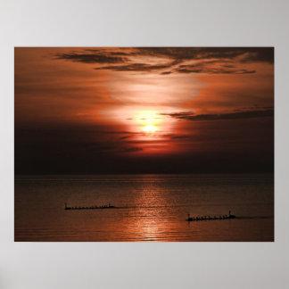 ガチョウ家族との素晴らしい日没 ポスター