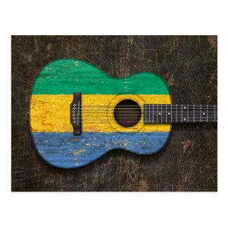 ガボンの傷付けられ、擦り切れたな旗のアコースティックギター ポストカード
