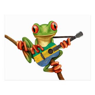 ガボンの旗のギターの白を遊んでいるアマガエル ポストカード