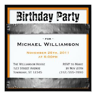 ガムテープの正方形の人のオレンジ誕生日の招待状 カード