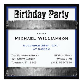 ガムテープの正方形の人の濃紺の誕生日の招待 13.3 スクエアインビテーションカード