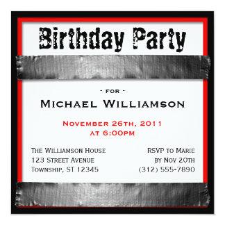 ガムテープの正方形の人の赤い誕生日の招待状 13.3 スクエアインビテーションカード