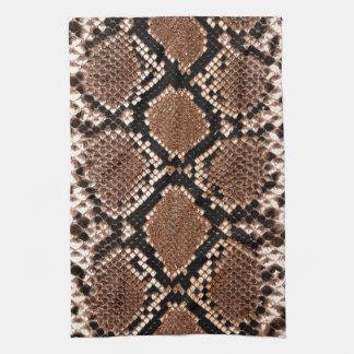 ガラガラヘビのスネークスキンの革のど キッチンタオル