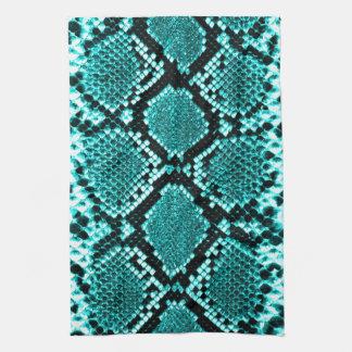 ガラガラヘビのスネークスキンの革模造のな青 キッチンタオル
