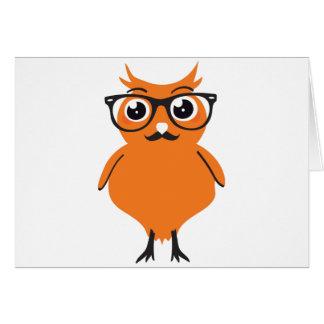 ガラスおよび髭を搭載するフクロウのヒップスター カード