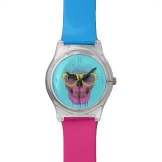 ガラスが付いているポップアートのスカル 腕時計
