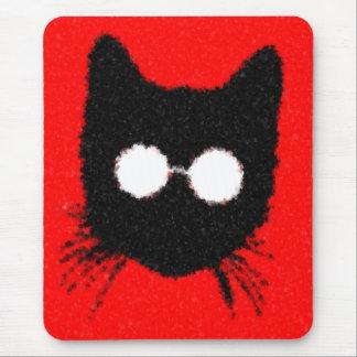 ガラスのシルエットを持つ厳粛なヒップスター猫 マウスパッド