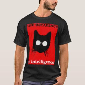 ガラスのシルエットを持つ厳粛なヒップスター猫 Tシャツ