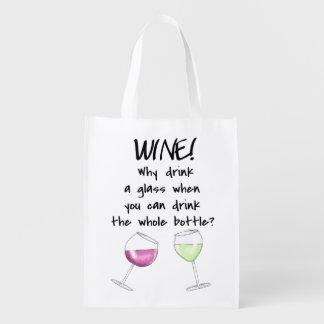 ガラスのワインのおもしろいなことわざのショッピングのパーティの戦闘状況表示板 エコバッグ