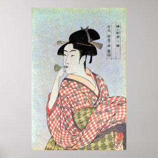 ガラスの笛を吹く女、歌麿のガラス笛を吹く女性、Utamaro ポスター