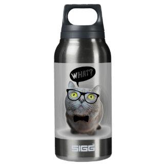 ガラスを持つかわいい猫の子ネコどんな引用文のプリント 断熱ウォーターボトル