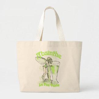 ガラスを持つアブサンのLa料金のVerteの妖精 ラージトートバッグ