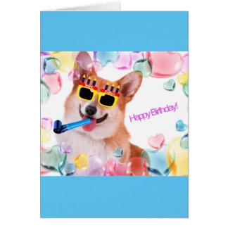 ガラスを持つハッピーバースデーのコーギー カード