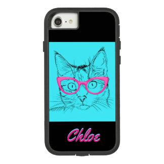 ガラスを持つ子猫猫は青いピンクのiPhoneの箱を示します Case-Mate Tough Extreme iPhone 7ケース