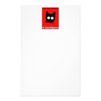 ガラスを持つ曖昧なヒップスター猫-赤及び黒 便箋