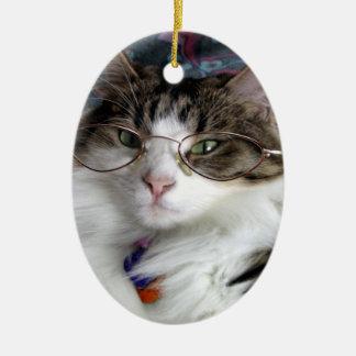 ガラスを持つ猫 セラミックオーナメント