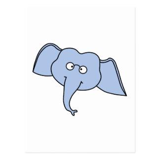 ガラスを持つ青い象。 漫画 ポストカード