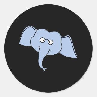 ガラスを持つ青い象。 漫画 ラウンドシール