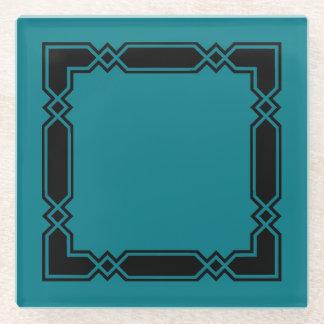 ガラスコースターまたは黒いおよび緑のダイヤモンドのデザイン ガラスコースター