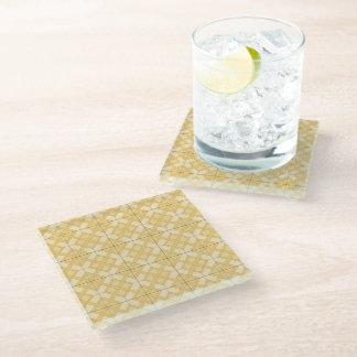 ガラスコースター-黄色の編まれた格子 ガラスコースター