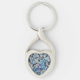 ガラスダイヤモンドの歪んだハートの金属Keychain キーホルダー