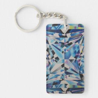 ガラスダイヤモンドの長方形(独身の味方される) Keychain キーホルダー