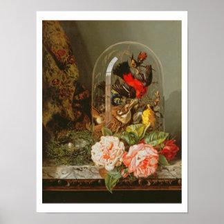 ガラスドームのぶんぶんいう鳥が付いている静物画 ポスター