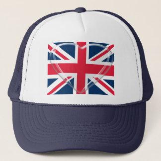 ガラスハートのカスタマイズ可能な芸術の英国国旗の旗 キャップ