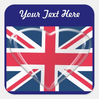 ガラスハートのカスタマイズ可能な芸術の英国国旗の旗 スクエアシール