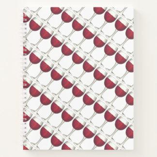 ガラスビンのブドウのメルローのマルベックを味わう赤ワイン ノートブック