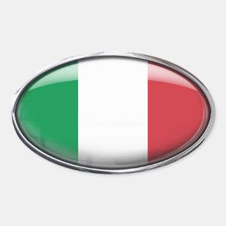 ガラス楕円形(4)のイタリアの旗パック 楕円形シール