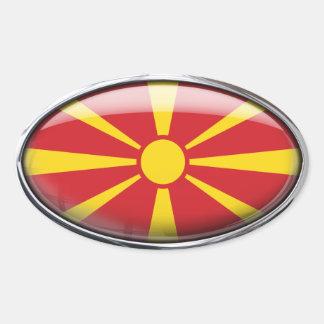 ガラス楕円形(4)のマケドニアの旗パック 楕円形シール