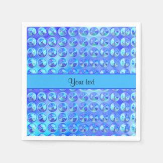 ガラス状の青いビーズ スタンダードカクテルナプキン