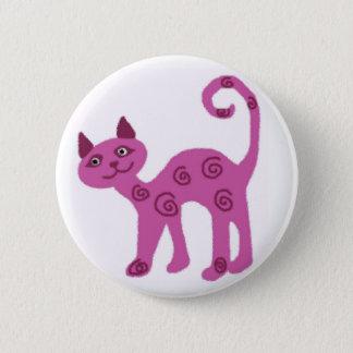 ガラス見る子猫猫ボタン 5.7CM 丸型バッジ