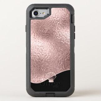 ガラス貝殻のばら色の金ゴールドID363 オッターボックスディフェンダーiPhone 8/7 ケース