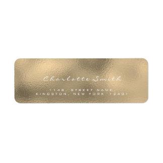 ガラス金ゴールドの模造のなセピア色の白の差出人住所ラベル ラベル