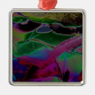 ガラス錯覚のデジタル芸術のギフト シルバーカラー正方形オーナメント