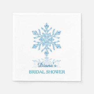 ガラス雪片の冬のブライダルシャワーの紙ナプキン スタンダードカクテルナプキン
